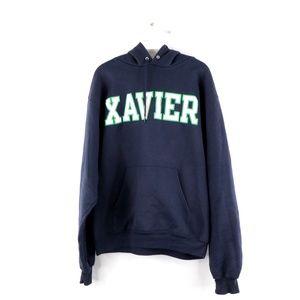 Vintage Champion Xavier University Hoodie Navy